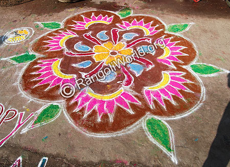 Freehand Rangoli With Bird Faces
