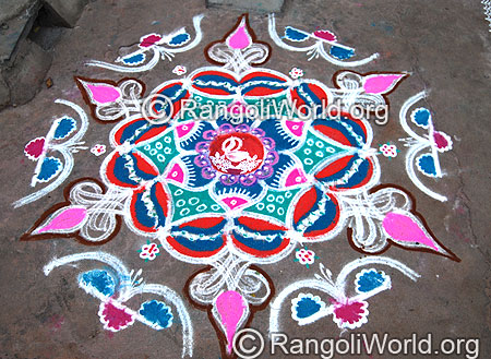 Freehand Rangoli with Deepam