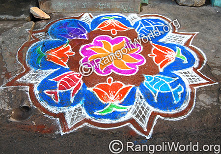 Fish and Flower Rangoli Kolam