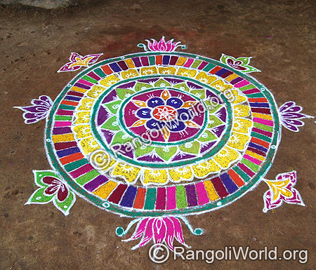 Freehand rangoli with colorful band outline