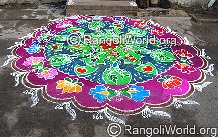 Peacock Lotus Freehand  Rangoli