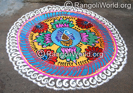 Peacock and lotus freehand Rangoli