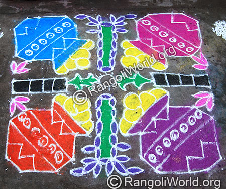 Pongal And Sugar cane Kolam