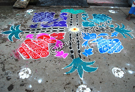 Pongal Theme Pulli Kolam with sugar cane