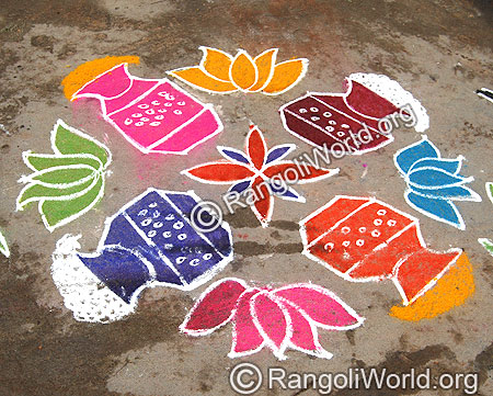 Pongal and lotus Kolam