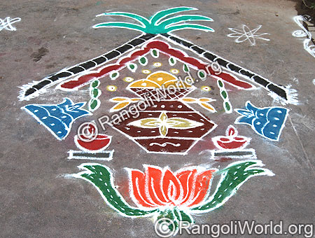 Pongal Theme Kolam With Lotus and Kalasam