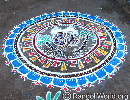 Pongal Theme Rangoli with Two Pongal Pot