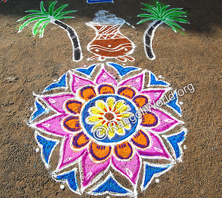 Pongal Pot with Freehand Rangoli theme