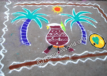 Pongal Rangoli in woods stove with thampulam plate