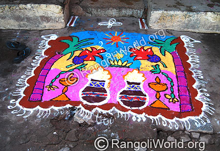 Pongal theme Rangoli with kuthuvilaku