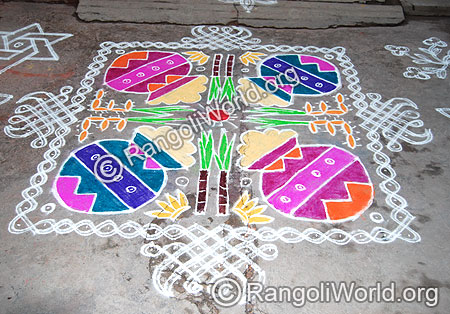 Pongal Theme Rangoli with Nelli Kolam Cover