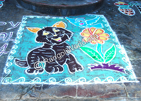 Puppy cat and bird Drama Theme Freehand Rangoli