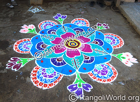 Traditional simple freehand Rangoli