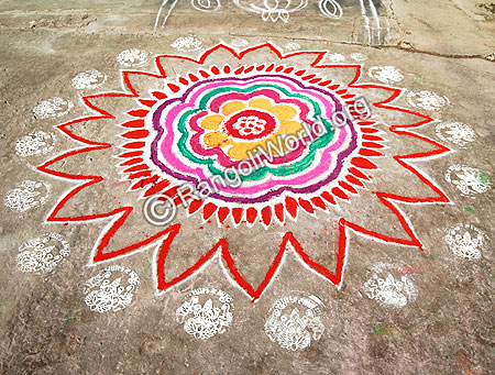 Freehand Rangoli With god laksmi