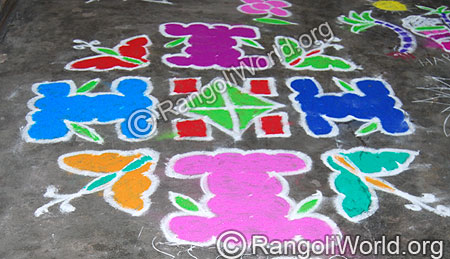 Tulasi Maadam and Butterfly Dots Kolam