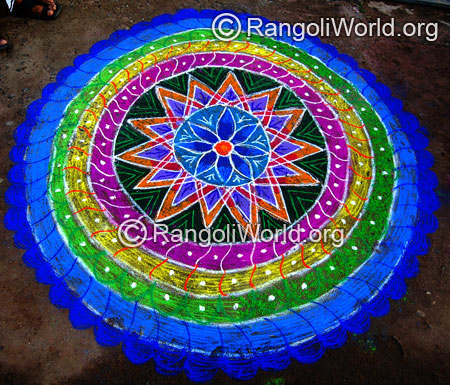 Attractive big freehand rangoli for pongal festival