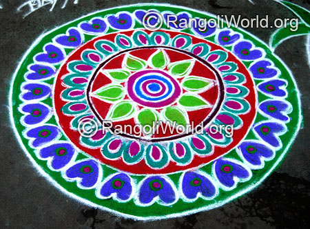 Beautiful flowers freehand rangoli for thai pongal