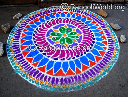 Big colorful freehand rangoli for thai pongal jan2015