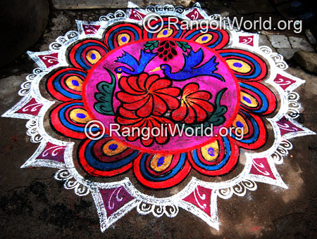 Birds on flowers freehand rangoli for thai pongal