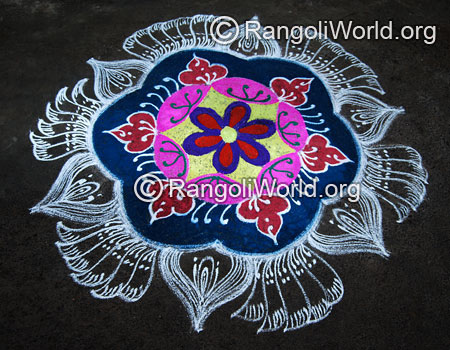 Double stroke colorful freehand rangoli jan2015
