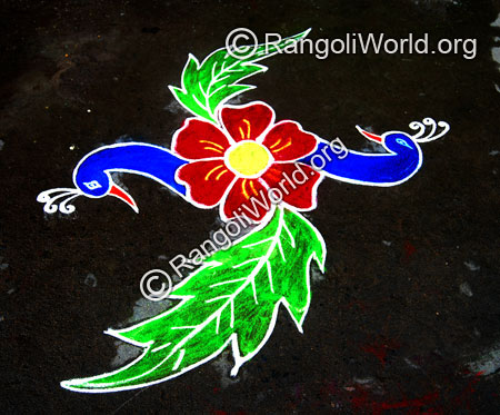 Easy twin peacock with flower freehand rangoli jan2015