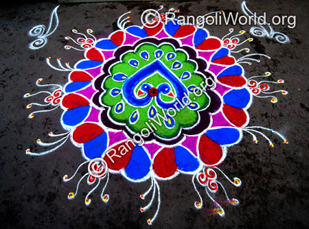 Peacock in love freehand rangoli jan2015