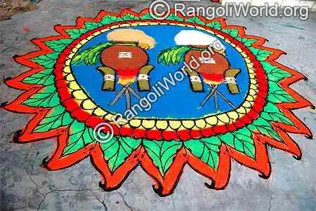 Pongal festival rangoli with two pongal pots