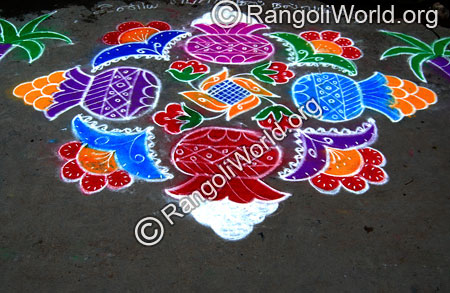 Pongal with sweets & flowers rangoli jan2015