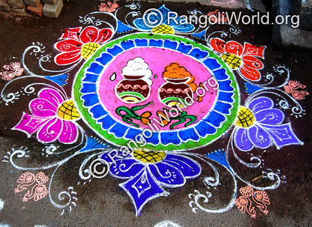 Pongalo pongal rangoli with traditional turmeric plant