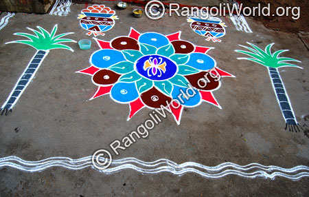 Simple flower and pongal pot freehand rangoli