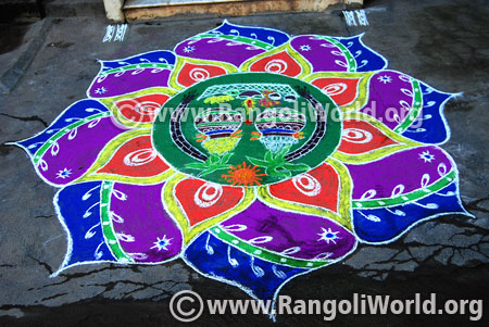 Colourful pongal rangoli 2017 design