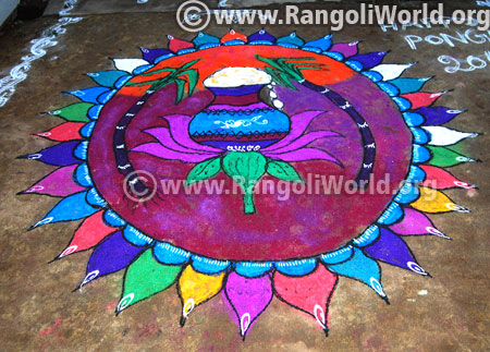 Happy pongal rangoli designs 2017 latest