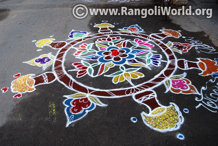 Lotus pongal pot rangoli design 2017