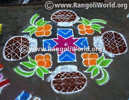 Pongal pot flower kolam design 2017
