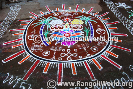 Pongal sunrise rangoli design 2017
