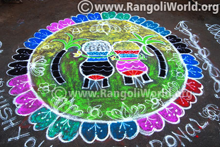 Twin pongal pot freehand rangoli design 2017