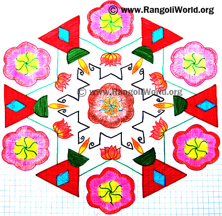 Lotus Flowers Lamp Kolam