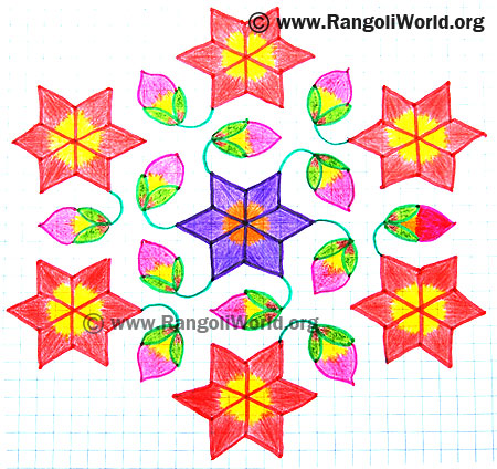Star Flower Buds Kolam