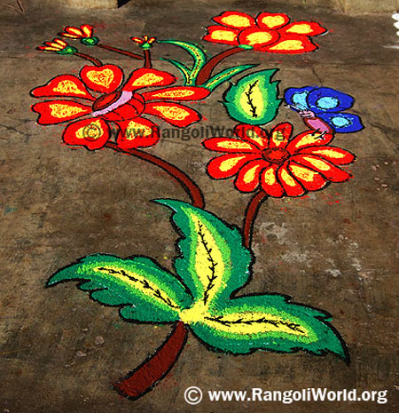 Flower Butterfly Rangoli