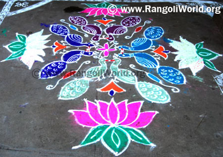 Flower Peacock Rangoli