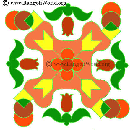 circle diamond shape kolam
