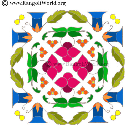 simple flower kolam