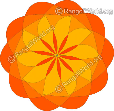Orange flower rangoli jan10