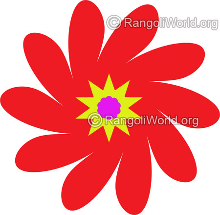 Red flower rangoli jan10