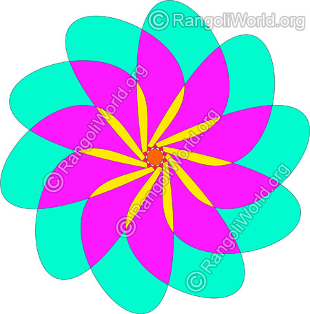 Simple pink flower rangoli jan10