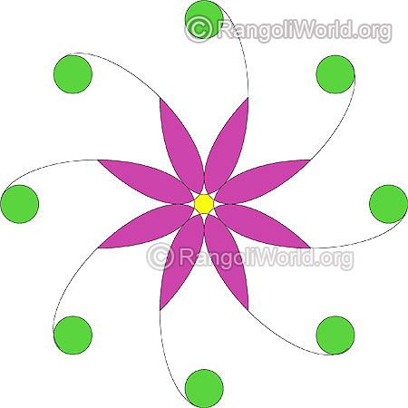 Simple purple flower rangoli jan10
