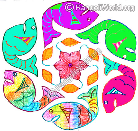 Colorful fish kolam april14 2015