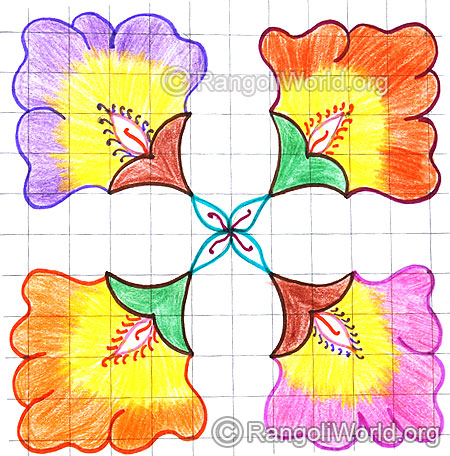 Colorful flower kolam april14 2015