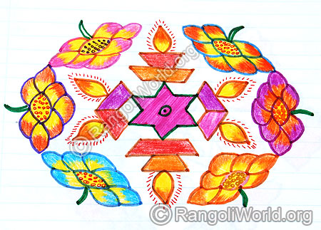 Flower deepam star kolam april14 2015