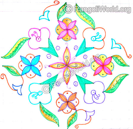 Flowers with leaves kolam april14 2015